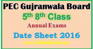 Gujranwala Five Eight Class Date Sheet 2016