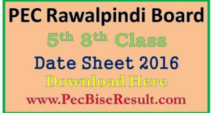 Bise Rawalpindi Board 5th 8th Class Date Sheet 2016