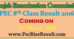 Free Download PEC Eight Class Result 2016