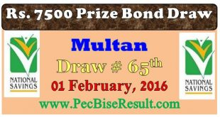 7500 Rs. Prize Bond Draw List 01/02/2016