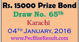 Karachi 15000 Rupees Prize Bond Draw List 2016