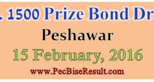 1500 Prize Bond Draw List 15/02/2016