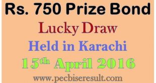 750 Rs. Prize Bond List Draw Karachi 15/04/0216