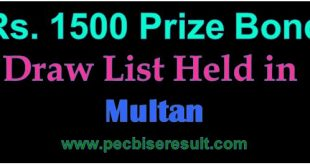 Multan Prize Bond 1500 List Draw 16/05/2016