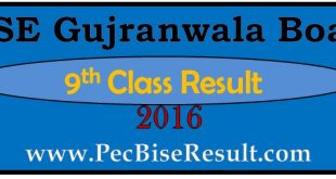 2016 Gujranwala 9th Class Result