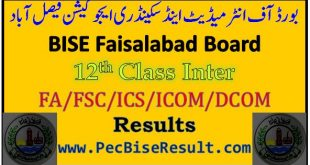 Faisalabad Inter Part2 Result 2016