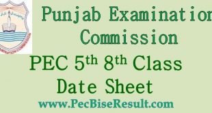 Five Eight Class Date Sheet 2018