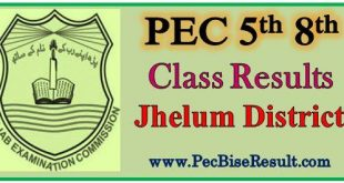 Five Eight Class Jhelum Result 2018