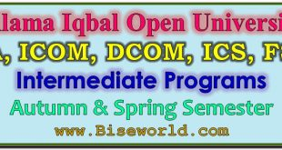 Allama Iqbal Open University FA Result 2017