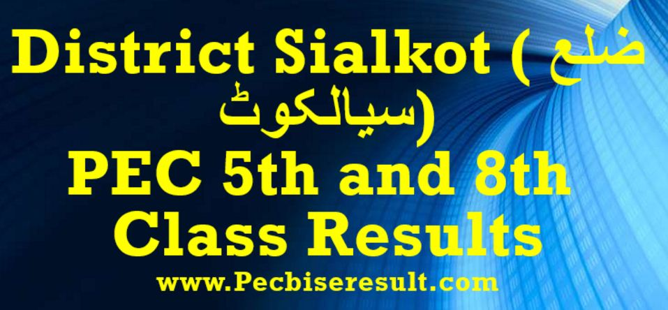 Sialkot PEC 5th and 8th Class Result 2017