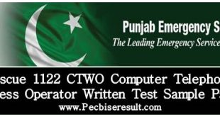 Computer Telephone Wireless Operator Rescue 1122 Written Test Sample Papers 2018