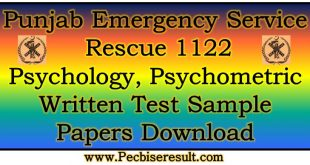 Pschometric Test Sample Papers 2018 Rescue 1122 NTS Jobs