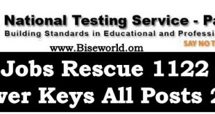 Rescue 1122 Jobs NTS Test Answer Keys CTWO EMT FR DR LTV 2017