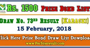 1500 Prize Bond Draw List 15 February 2018