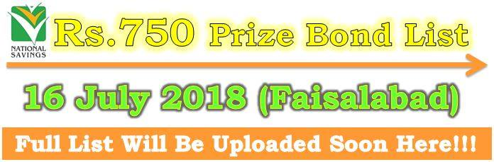 Prize Bond Draw List 750 Result No 75 July 16 2018 Held