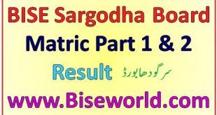 SSC Sargodha Board 9th 10th Class Result 2020