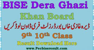 DG Khan Board Matric Result 2020