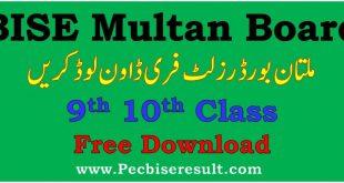 BISE Multan Board Matric Result 2020 Download