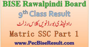 Rawalpindi Board Nine Class Result 2020 SSC Part 1