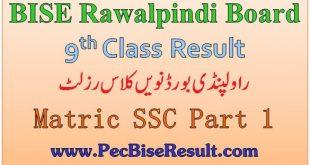 Rawalpindi Board Nine Class Result 2020 SSC Part 1