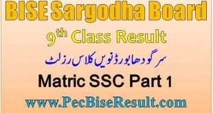 Sargodha Board 9th Class Result 2020 SSC Part 1
