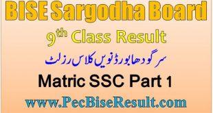 Sargodha Board 9th Class Result 2020 SSC Part 1