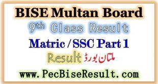 BISE Multan Board 9th Class Result 2020
