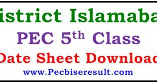 District Islamabad 5th Class Date Sheet 2021