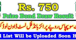 Prize Bond Draw Result 750 January 15 2021