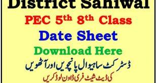 PEC Sahiwal 5th 8th Class Date Sheet 2021