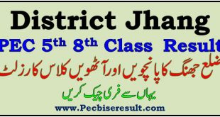 PEC District Jhang 5th 8th Class Result 2021