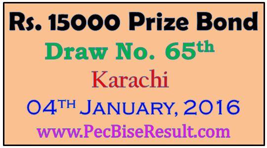 Karachi 15000 Rupees Prize Bond Draw List 2016
