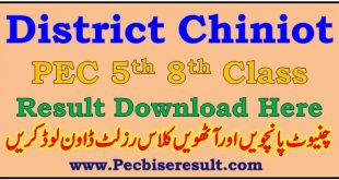 PEC Chiniot 5th 8th Class Result 2021