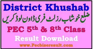 PEC District Khushab 5th 8th Class Result 2021