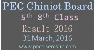 District Chiniot BISE 5th 8th Class Result 2016