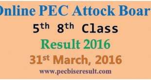 Online Attock 5th 8th Class Result 2016 Free Download