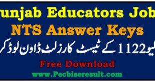Punjab Educators Jobs 2020 Answer Keys