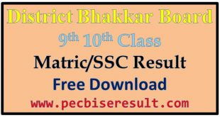 Bhakkar Board Matric Result 2020