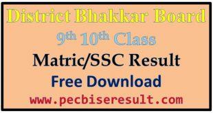 Bhakkar Board Matric Result 2020