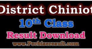District Chiniot 10th Class Result 2020