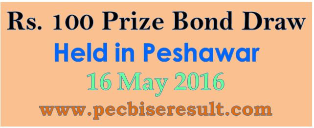 Prize Bond Draw List Rs. 100 16/05/2016