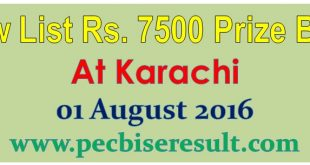 Karachi 7500 Rs. Prize Bond Draw 2016