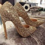 2017 Golden High Heel Shoes