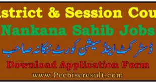 Nankana Sahib Session Court Jobs 2020