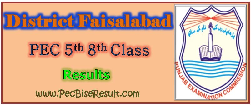 PEC Five Eight Class Result 2017 Faisalabad