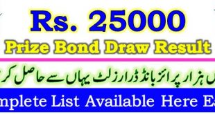 Prize Bond Draw Result 25000 August 03 2020