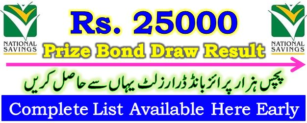 Prize Bond Draw Result 25000 March 10 2021