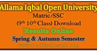 Allama Iqbal Open University Matric Result 2020
