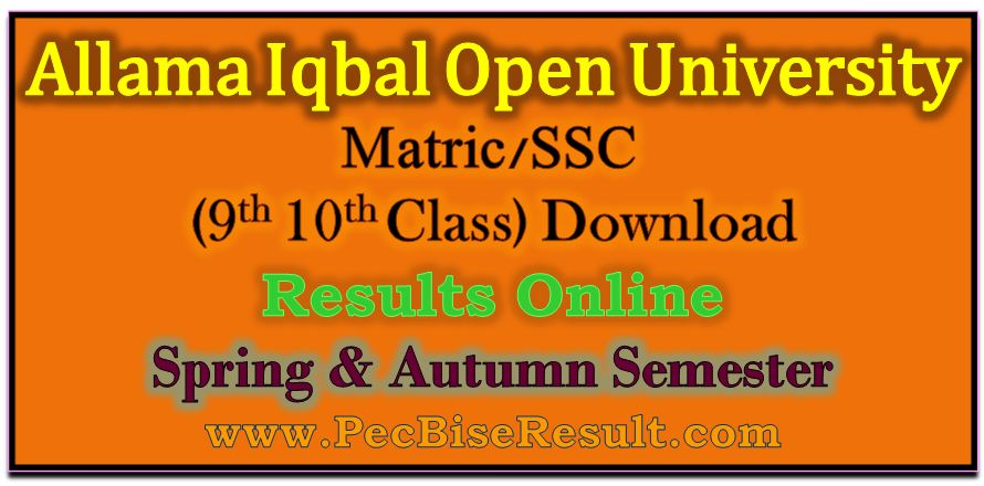 Allama Iqbal Open University Matric Result 2017