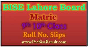 Roll No Slips 2021 Matric Lahore Board
